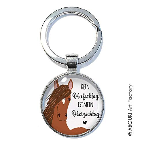 Dein Hufschlag ist mein Herzschlag - ABOUKI | handgefertigter Glücksbringer Taschenanhänger Pferde-Schlüsselanhänger mit Spruch