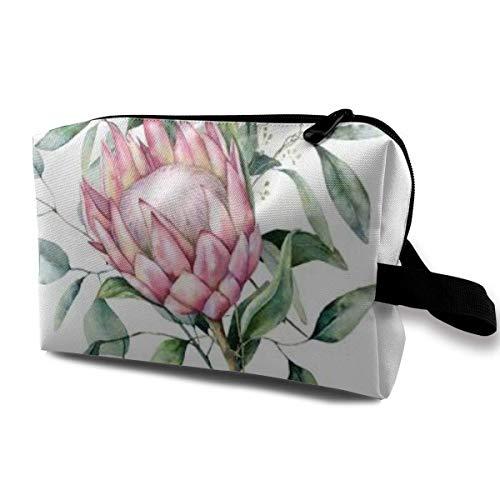 Trousse de Maquillage Pochette cosmétique Aquarelle Protea Bouquet Feuilles d'eucalyptus Hpainted Fleur Rose Sac Multifonctionnel Kit de Voyage Sac de Rangement