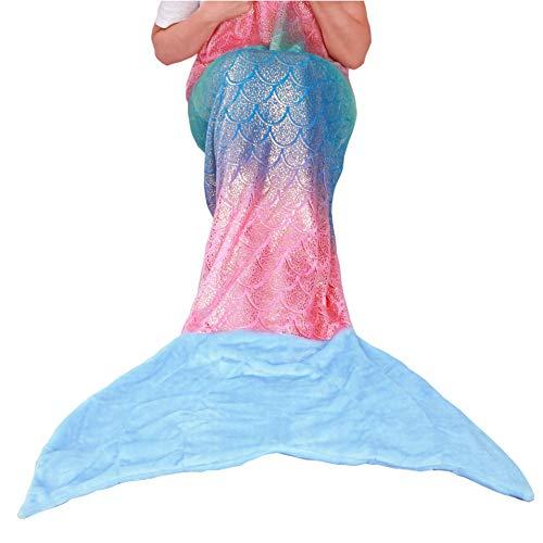 softan Meerjungfrau Decke für Kinder Jugendliche Erwachsene, Mädchen Frauen Geschenke, Plüsch weiche Flanell Fleece Kuscheldecke, 63cm x 152cm