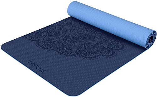 TOPLUS Yoga Mat - Classic 1/4 inch Pro Yoga Mat Eco Friendly Non Slip Fitness Exercise Mat with Carrying Strap-Workout Mat for Yoga, Pilates and Floor Exercises (Embossing Blue)