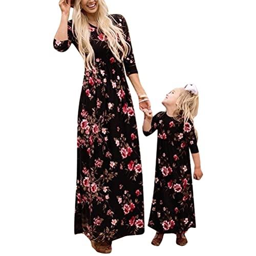 Minetom Verano Madre E Hija Vestidos Acogedor Sin Mangas Impresión Falda Vestido Familia Fiesta Partido De Tarde H Negro M