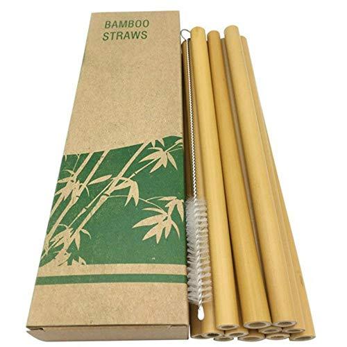 Aomerrt 10-delige set, herbruikbare bamboestro, 20 cm, organische bamboekist, natuurlijke houten kist voor feesten, verjaardag, bruiloft, bar of gereedschap