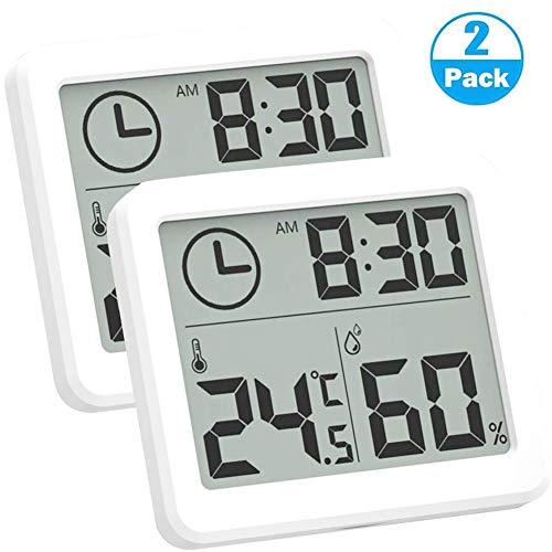 Best Panda Digital Hygrometer Thermometer, 3.2 Inch Large LCD Screen Display Indoor Temperature Humidity Meter and Clock for Home, Office, Bedroom,Green House Basement Refrigerator (2pcs)