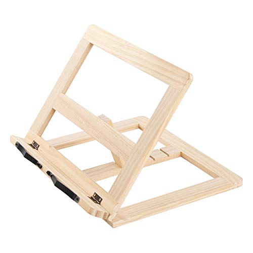 Soporte de Bambú Ajustables,Wooden Adjustable Book Stand Cookbook Holder Reading Desk, 5 Alturas Ajustables Atril para Libros y Soporte de Tablets -Bookrest Ideal para Leer, Ver Videos 30 * 25 * 4cm