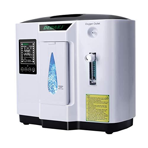 Concentrador de oxígeno, 90% Alta Pureza 1-7L / min Generador de oxígeno de flujo O2 Hogar inteligente LED portátil con control remoto para uso doméstico y de viaje en automóvil, DE-1A