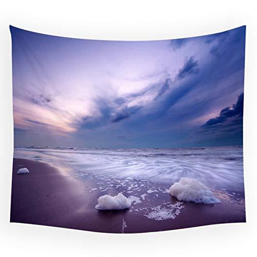 WERT Paisaje de Playa Junto al mar Olas del océano cocoteros Puesta de Sol velero Tapiz Sala de Estar Tela de Fondo A1 150x200cm