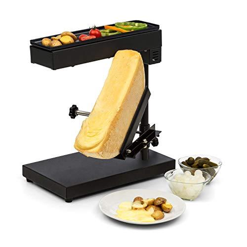 Klarstein Appenzell Peak - Raclette mit Grill, Käseschmelzer, traditionelles Käseschmelzen, Käse-Raclette, 1000 Watt, Temperatur einstellbar, neigbar, höhenverstellbar, Edelstahl, grauschwarz