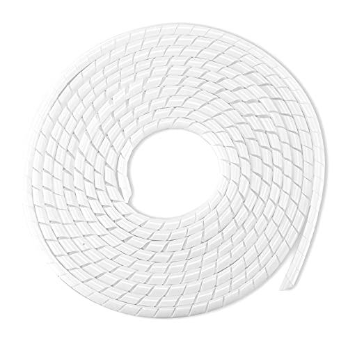 MOSOTECH 2 Pack Organizador Cables, 5.1M Espiral Cubre Cables Universal con 3.1M DIY Negro Bridas Cortable, Antienvejecimiento Recoge Cables para Escritorio, PC Escritorio, Oficina, Hogar-Blanco