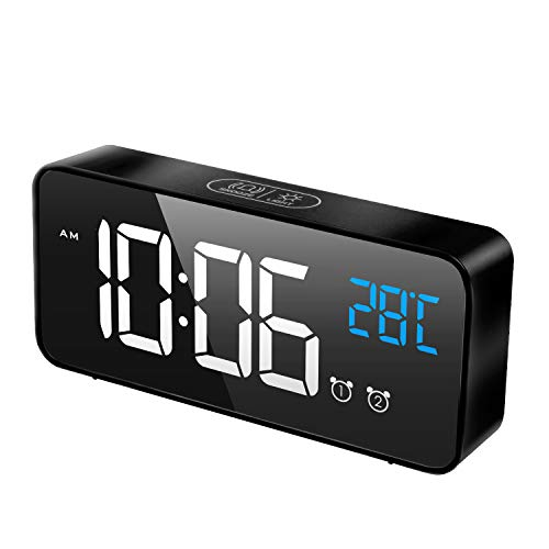 MOSUO Digitaler Wecker, LED Digital Wecker Spiegel Tischuhr mit Sprachsteuerung & Temperatur Anzeige, Reisewecker Uhr USB Aufladen, 2 Weckzeiten, Snooze, Einstellbare Helligkeit & Lautstärke, Schwarz