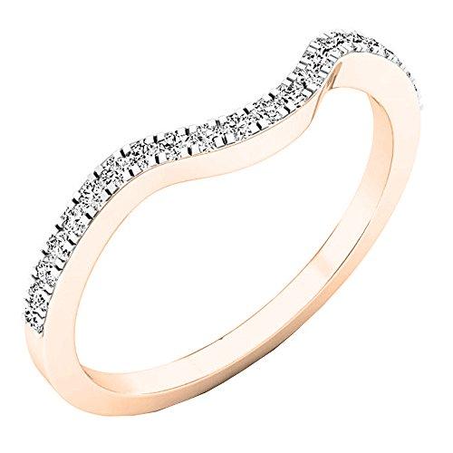 Anillo de aniversario o alianza de boda de diamante blanco redondo de oro de 14 quilates (0,15 quilates peso total)