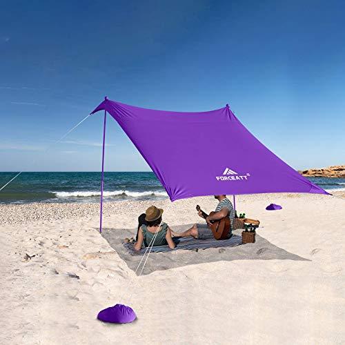 Forceatt Abri Solaire pour Tente de Plage,Tente de Plage Pop-up avec Protection UV UPF50+ et 2 Pièces Poteaux en Aluminium, Abri Extérieur pour la Plage, Camping ou Pique-Niques (2.1 Mx2.1 M).