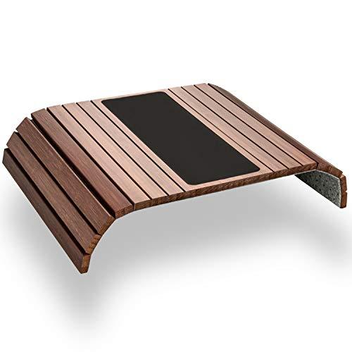 Green\'n\'Modern braunes Sofatablett rutschfest - Holz Bambus Getränkehalter Armlehne mit Pad | Couch Tablett flexibel | Sofa Tablett Armlehne mit Antirutschpad als Sofa Ablage | Couch Getränkehalter