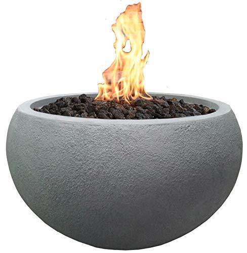 Kaminlicht Gas-Feuerstelle Marra Beton-Optik grau aus Faserbeton Garten Terrasse