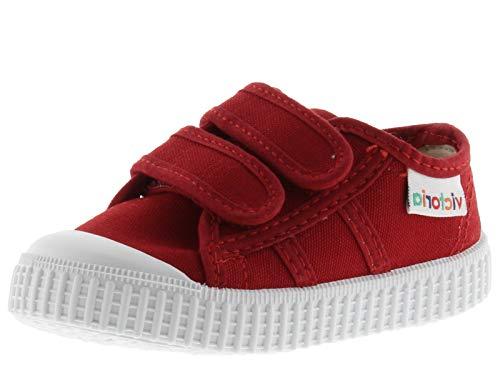 victoria Unisex barnkorg Lona Dos kardborreband låga sneakers barn, Röd - Röd karmin - 19 EU