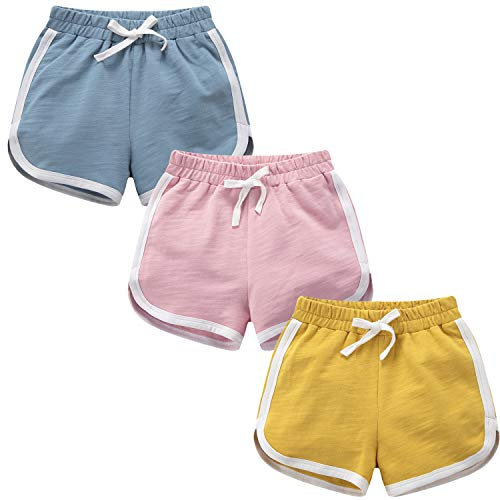 Baby Girls Boys Toddler 3 Pack Running Athletic Cotton Shorts, Kids Workout and Fashion Dolphin Summer Beach Sports (Yellow-Blue-Pink, 12-24 Months)
