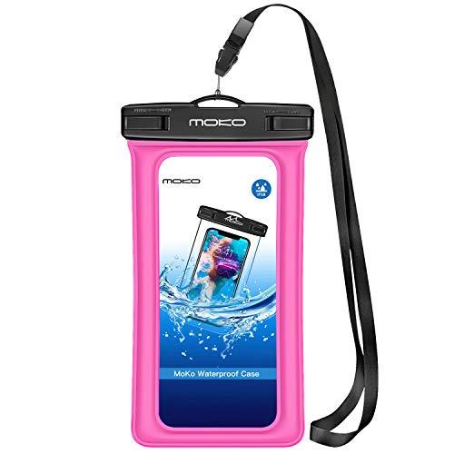 MoKo wasserdichte Hülle Tasche Outdoor Schutzhülle IPX8 Beachbag Schwimmend Fuktion für iPhone 12/12 mini/12 Pro/11/11 Pro/7, Galaxy S5/S6/S7 Edge/J5/A5, 4-5.7 Zoll Handy - Magenta