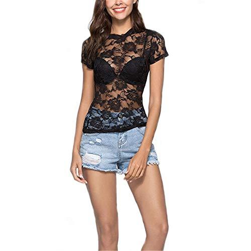 ZHUQI Ladies Transparent Lace Shirt Sexy Beach See-Through Summer Top Beach Poncho Short Sleeve Shirt Mesh Blouses Party Tops Sexy Lace Ladies Mesh Tops Elegant Shirt A-Black L
