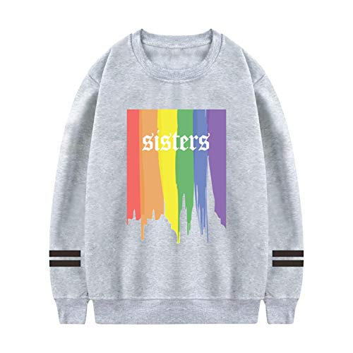 Art Rainbow Sisters Mens Solid Color Round Neck Long Sleeve Sweater S Gray