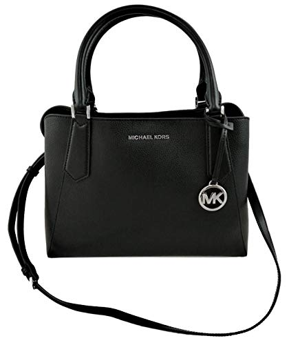 """Colour: Black. Material: Leather, silver tone hardware. Open top, snap closure, centre zip compartment. Logo plate on front, hanging logo charm. Dual rolled top handles. Adjustable and removable leather shoulder strap. Measurements: 5.5"""" double handl..."""