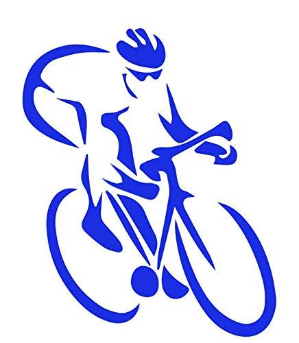 Road Bike Racing - Vinyl Decal Sticker - 4.5' W X 5.5' H Blue HGC1601.04