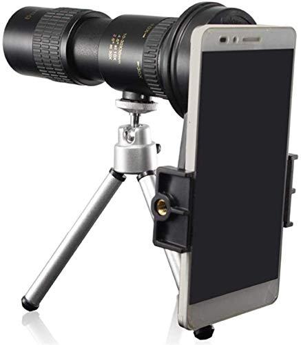 ZHBH Telescopio monocular para cámara de teléfono, Potente telescopio monocular con Zoom telefoto Alto 10-30x30 portátil con trípode Negro y Clip