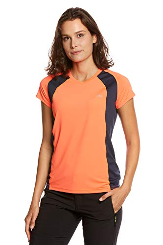 Jeff Green Damen Atmungsaktives Kurzarm Funktions Shirt Ella, Größe - Damen:42, Farbe:Neon Orange/Navy