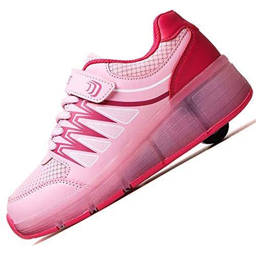 WXBYDX Unisex Einzelrad Schlittschuhe LED Lichter Blinken Einstellbare Räder Technologie Skateboard Skates Mode Lässig Atmungsaktive Turnschuhe Für Jungen Mädchen,Pink Blau,Größe (28-40) pink-36