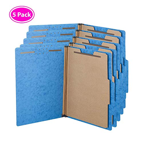 Kaplite Pressboard Office Supplies Classification File Folder | One Divider with Fasteners | Blue Legal Letter Size Pack (5 Pack)