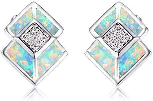 HongTeng Gioielli Opale di Fuoco Piccolo Orecchini Ragazza squisita Sterling Silver ipoallergenico Bianco Orecchini di Diamanti for Le Donne (Color : D)