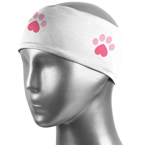 Verctor Bandeaux élastiques pour Femmes Love Heart Cat Paw Cartoon Workout Headband Unisex Moisture Wicking