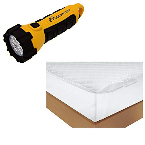 Toucan City LED Flashlight and AllerEase Polyester Vinyl Free King Ultimate Protection and Comfort Waterproof Bed Bug Antimicrobial Zippered Mattress Protector 3516ATC