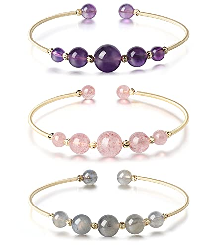 3 Pcs Reiki Healing Crystal Gemstone Beaded Bracelet Set 14K Gold Plated Cuff Bracelets for Women