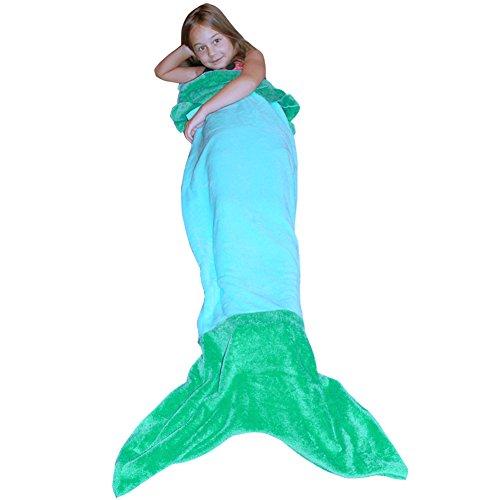 Dressyday Meerjungfrau Decke Kinder Koralle Fleecedecke Meerjungfrauenschwanz Schlafsack