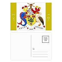 ブリッジタウンバルバドスの国章 友人のポストカードセットサンクスカード郵送側20個