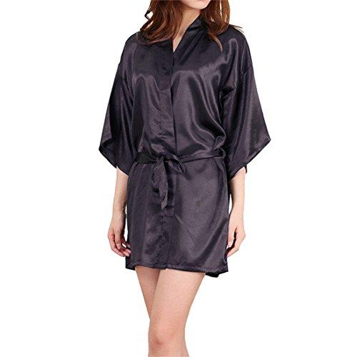 Sidiou Group Albornoz de satén para mujer Kimono Bata Albornoz Negligee Ropa de dormir Lencería de satén para mujer Albornoz de encaje Vestidos de novia (XL, Estilo 2-Negro)