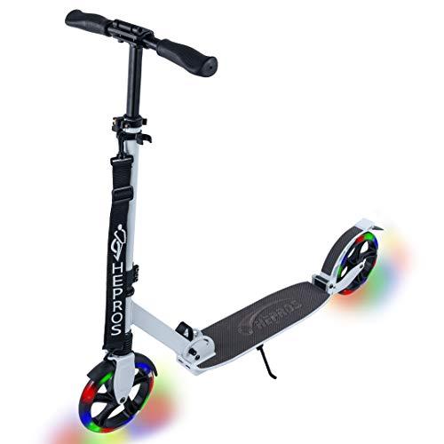 Hepros Fully Flash Scooter 200mm LED Leuchträder Cityroller Erwachsene Weiß ABEC9 Radlager Farbe Carbon
