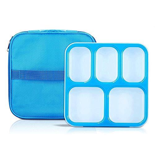 Fiambrera Reutilizable almuerzo Bento Box Microondas Caja de seguridad caja de almuerzo del aislamiento a prueba de fugas 5 Compartimiento de comidas de preparación del envase respetuoso del medio amb