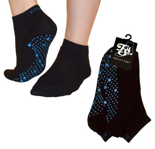 FitSox Pilates, Yoga, Barre, Ballet, Dance, Fitness, Martial Arts, Gym, Workout, Anti Slip, Non Slip, Grip, Skid, Fall Prevention, Hospital. Socks, Sox, Fit Products., womens, Black / Blue, Approx - US 6-10 / UK 4-9 / EU 38-44 from Fit Products
