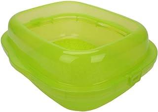 猫用トイレ本体 三重層猫子猫オープンプラスチックトイレ砂トレイボックス透明ペットトイレ砂トイレトイレトイレ付きフェンス 適当な容量、快適に使える (色 : 緑, サイズ : 50*42*20cm)