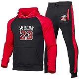 UIQB Maglia da Basket Uniforme Tuta Set Bulls 23# Michael Jordan Tuta Sportiva Felpa con Cappuccio Colore Pantaloni da Jogging Tifosi Maglie da Allenamento, Comode, Nero Red-M