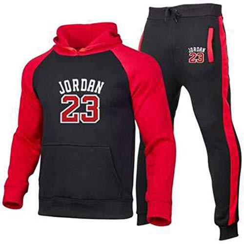 UIQB Basketball Jersey Uniform Trainingsanzug Set Bulls 23# Michael Jordan Sportswear Anzug Nähen Farbe Hoodie Jogging Hosen Fans Training Trikots, Komfortabel, Schwarz red-L