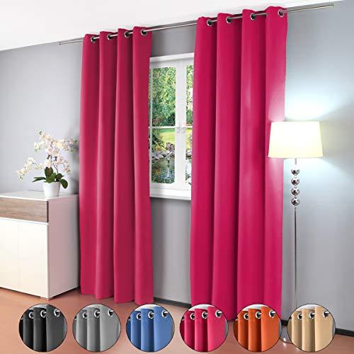 Gräfenstayn cortina térmica y opaca Alana, cortina con ojales, aprox. 135x 245cm, tela, frutas del bosque, 135 x 245