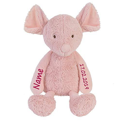 Elefantasie Stofftier Maus Altrosa mit Namen und Geburtsdatum personalisiert Geschenk 32cm