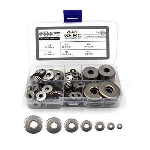 263 teiliges Set Unterlegscheiben nach DIN 9021 / ISO 7093 Standard rostfreier Edelstahl A2 V2A Beilagscheiben Größen M3 M4 M5 M6 M8 M10