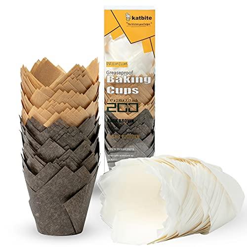 katbite Tulpen Muffinförmchen aus Papier, 200 Stück Cupcake Backbecher für Party Hochzeit Geburtstag, Muffinform in Weiß, Braun, Dunkelbraun