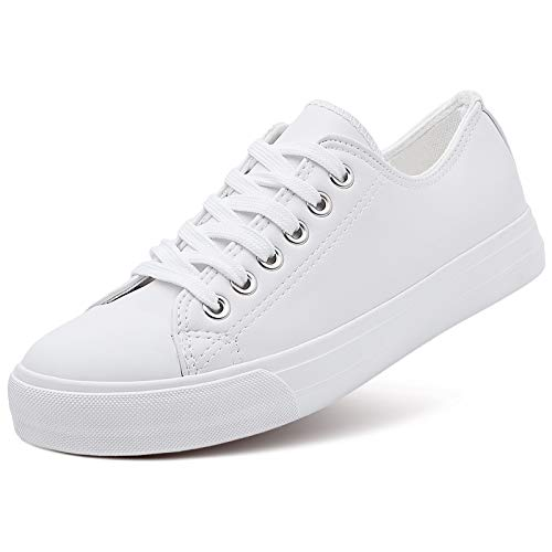 AOMAIS Womens Fashion PU Leather Sneakers Low Top Lace up Canvas Shoes (White,US9)…