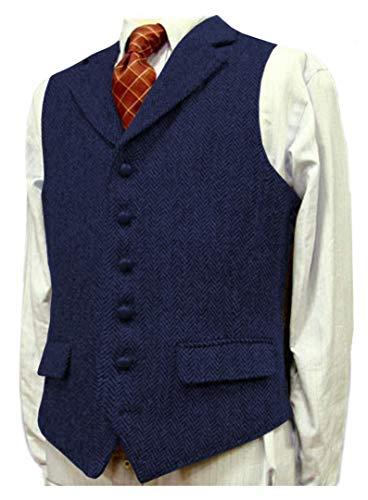 Heren pak Vest Wol Herringbone Waistcoat Business Groomman voor bruiloft/Groen/Grijs