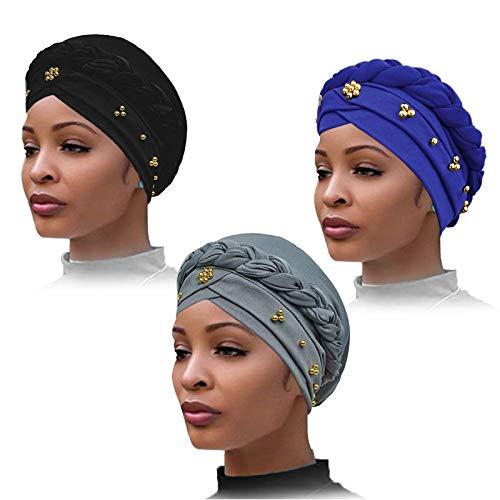 YMHPRIDE 3 piezas de turbante para mujer con pañuelo en la cabeza con cuentas, los sombreros turbantes retorcidos, gorros, gorro de imitación de perlas, gorro para dormir (negro, gris, azul)