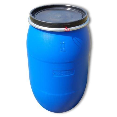 Wilai GmbH Barile polietilene 220 L Apertura Totale con Coperchio, qualità Alimentare, Blu (22119)