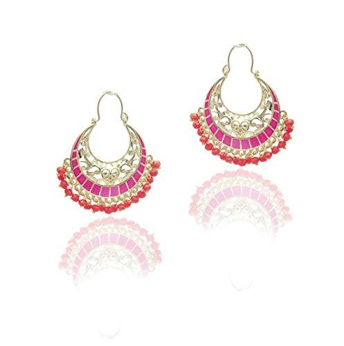 Moonstruck Traditional Indian Chandbali Kundan Hoop Earrings With Pearls for Women (Orange)